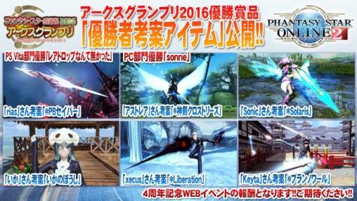 Arks Grand Prix Item Winners
