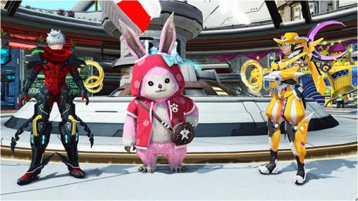 PSO2 Lobby Coa, Lilika, and Musashi